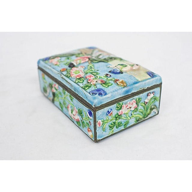 Antique Enamelware Box For Sale - Image 4 of 8