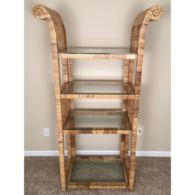 Billy Baldwin Style Wrapped Rattan Etagere - Image 10 of 10