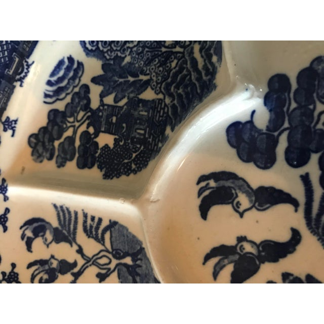 Asian Old Blue Willow Divided Grill Plate For Sale - Image 3 of 9