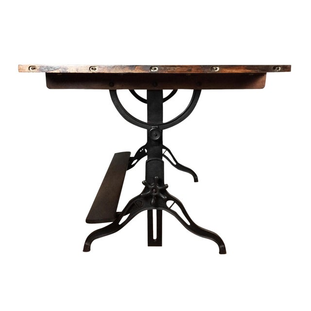 Large Antique Cast Iron & Wood Drafting Table, 1910s - 1920s - Image 1 of 5