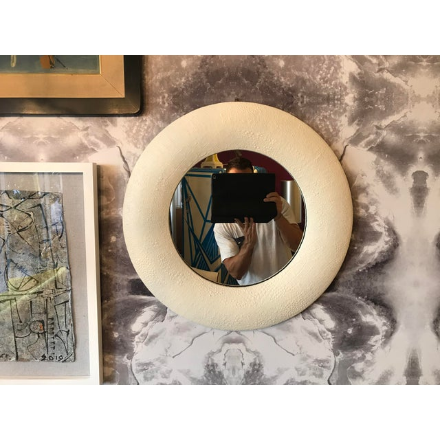 Leather Off White Embossed Leather Round Mirror For Sale - Image 7 of 7