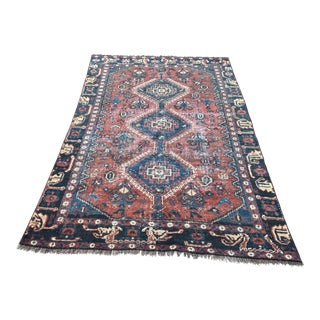 1970s Vintage Distressed Royal Blue Handwoven Rug - 4′4″ × 6′8″ For Sale