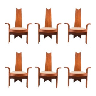 McGuire Style Rattan High Back Dining Chairs - Set of 6 For Sale