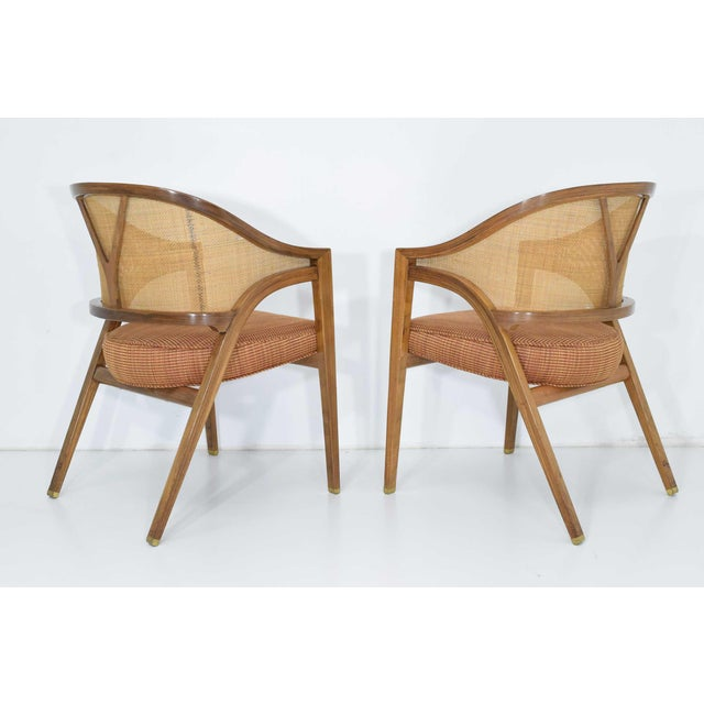 Brown Dunbar Cane Back Lounge Chairs by Edward Wormley - a Pair For Sale - Image 8 of 11
