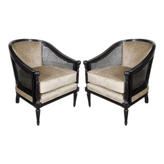 Pair of Mid-Century Modernist Balustrade Form Chairs with Cane Sides For Sale