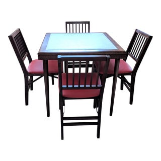 Vintage Stakmore Folding Game Table & Chairs - Set of 5 For Sale
