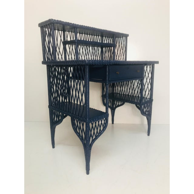 1960s 1960s Navy Rattan Writing Desk With Topper For Sale - Image 5 of 9