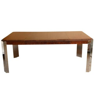 Pace Burled Wood and Stainless Steel Dining Table and Game Table