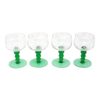 Mid-Century Cordial Glasses With Etched Grapes and Leaves - Set of 4
