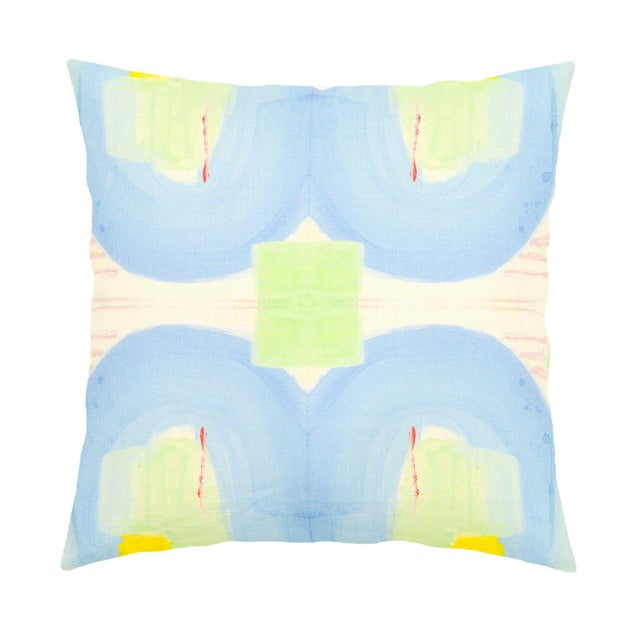 "Abstract Kerri Rosenthal ""Seventeen"" 22x22 Pillow For Sale - Image 3 of 3"