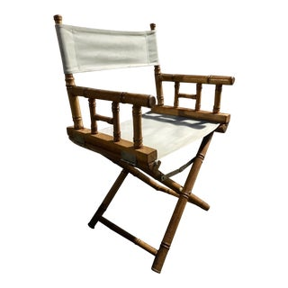 Vintage Mid Century Hollywood Regency Faux Bamboo Directors Chair For Sale