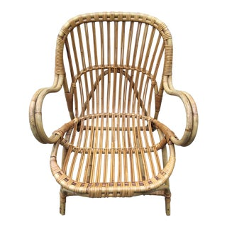 Mid-Century Dutch Rattan Wicker Chair For Sale