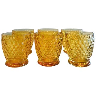 Set of Six Vintage Villeroy & Boch Crystal Whiskey Glasses in Amber For Sale