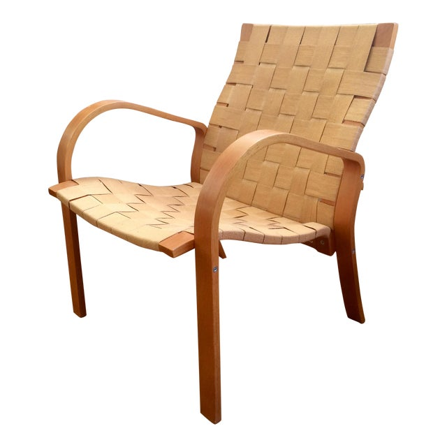 1990s Vintage Bruno Mathsson Style Molded Plywood Armchair For Sale