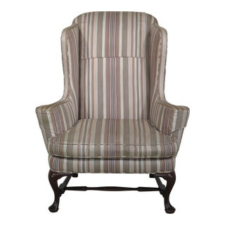 Queen Anne Stretcher Base Mahogany Wing Chair For Sale