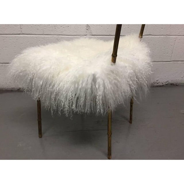 Mid-Century Modern Tall Gold Gilt Gio Ponti Style Chairs with Long Haired Sheep Fur For Sale - Image 3 of 6