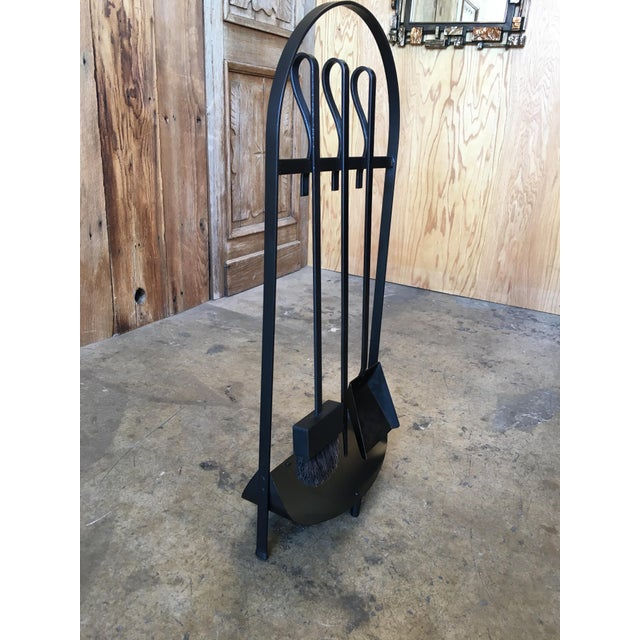 Modernist Wrought Iron Fireplace Tools For Sale - Image 4 of 9