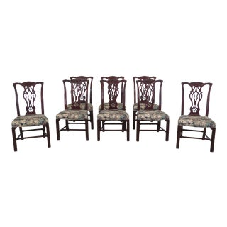 Set of 8 Baker Chippendale Mahogany Dining Room Chairs For Sale