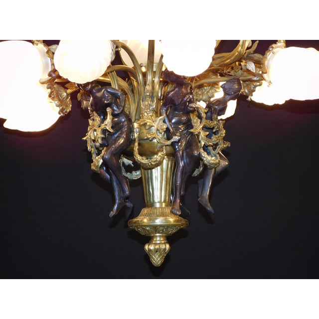Antique Bronze Maidens Flame Globe Chandelier For Sale In South Bend - Image 6 of 13