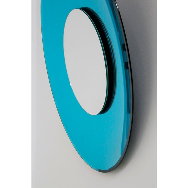 Mid-Century Modern Mirror Blue Contemporary Fashion in Style Fontana Arte by Effetto Vetro, 2010 For Sale - Image 3 of 11
