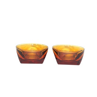 1960s Mid Century Modern Heavy Geometric Amber Ashtray Bowls - a Pair