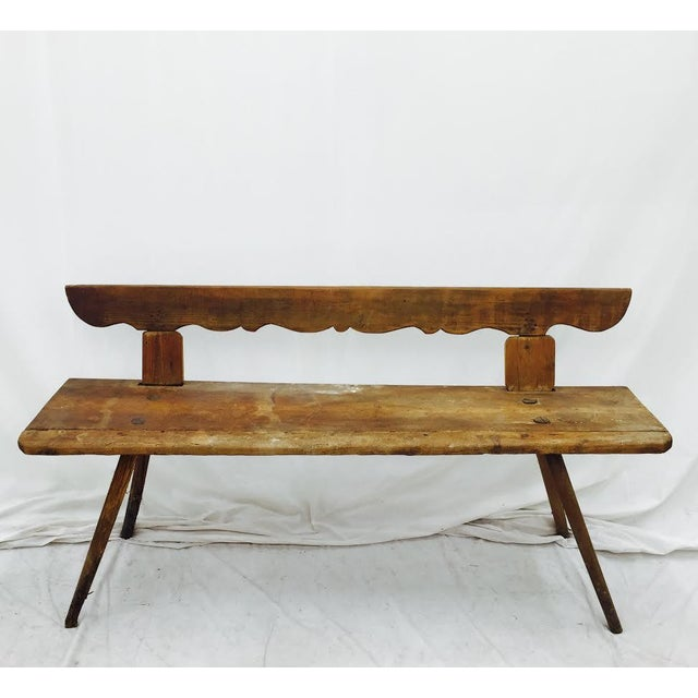 Antique Wooden Farm Bench - Image 2 of 10