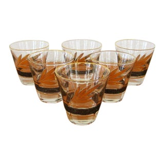 Vintage Mid Century Black and Gold Cocktail Glasses - Set of 6 For Sale