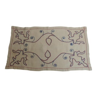 Antique Red White and Blue Embroidery Table Runner
