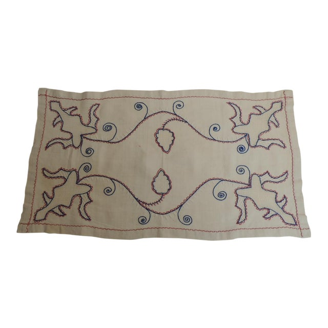 Antique Red White and Blue Embroidery Table Runner For Sale