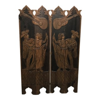 Early 20th Century Vintage Hand Carved Wood Room Divider For Sale