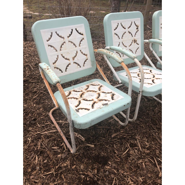 Country Garden Arm Chairs in Light Turquoise and White - Set of 4 For Sale - Image 4 of 12