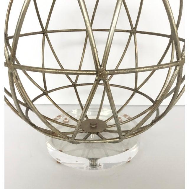 Stylish Modern Geometric Silver Finished Metal Sphere Sculpture on Acrylic, showroom floor sample