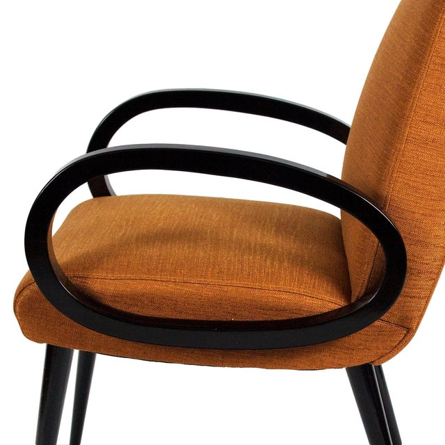 Wood 1950s Pair of Bridge Armchairs, Oval Arms, Stained Beech, Fibreguard, France For Sale - Image 7 of 9