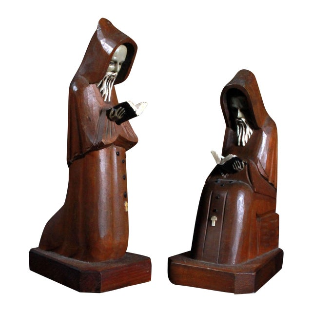 Vintage Hand Carved Mexican Monk Figures - Pair For Sale