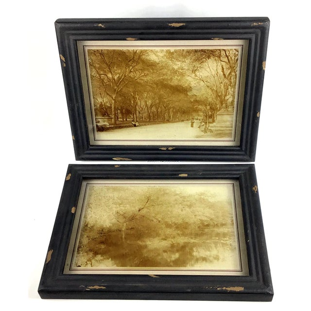 Canvas Rustic Framed Reversed Screen Prints on Glass - a Pair For Sale - Image 7 of 7