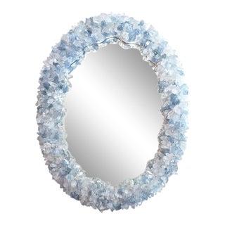 "Blue Geode Enrusted Designs Frame Mirror By Marjorie Skouras, Oval, 20""x26"""