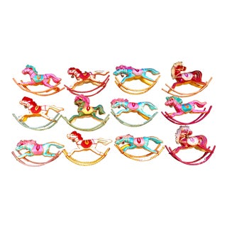 Vintage Rocking Horse Christmas Ornaments - Set of 12 For Sale