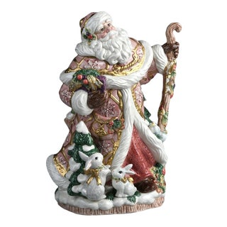 Fitz & Floyd Snowy Woods Large Santa Clause Center Piece Vase For Sale