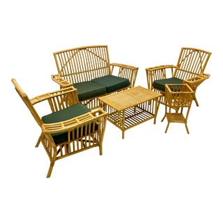 Mid-Century Rattan Patio Set- Settee Club Chairs - Set of 5 For Sale