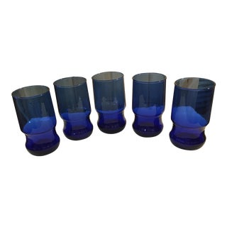 Hand Blown Cobalt Blue Tumblers - Set of 5