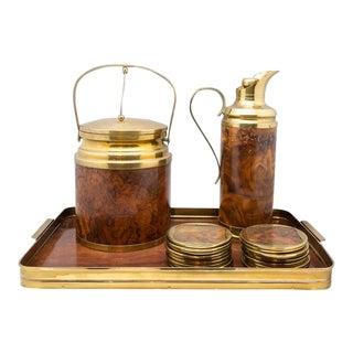 Vintage Wood and Brass Bar Set