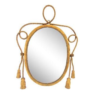 Hollywood Regency Gold Gilt Tassel Mirror For Sale