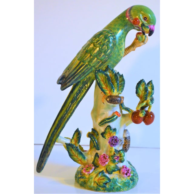 Asian (Final Markdown Taken) Vintage Green Majolica Parrot Figurine For Sale - Image 3 of 9