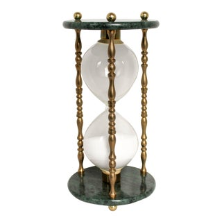 Brass & Stone Hour Glass For Sale