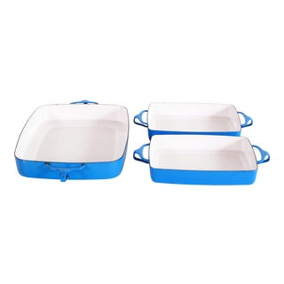 Mid Century Modern Dansk Blue & White Enamel Cast Iron Pans - Set of 3 For Sale