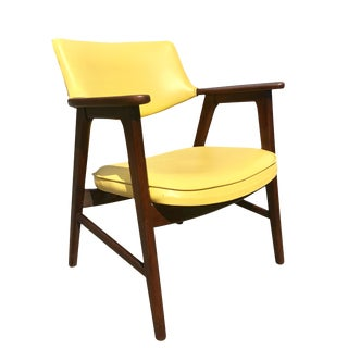 Mid-Century Eck Adam Danish Modern Teak Yellow Accent Chair For Sale
