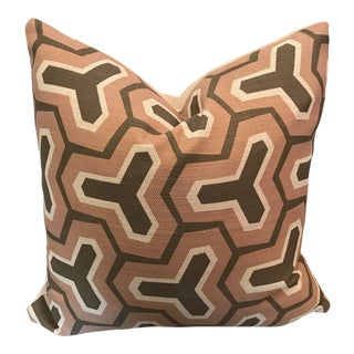 Custom Abstract Woven Pillow With Solid Reverse Side For Sale