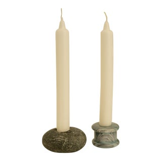 Minimalist Carved Stone Candle Holders - Set of 2 For Sale