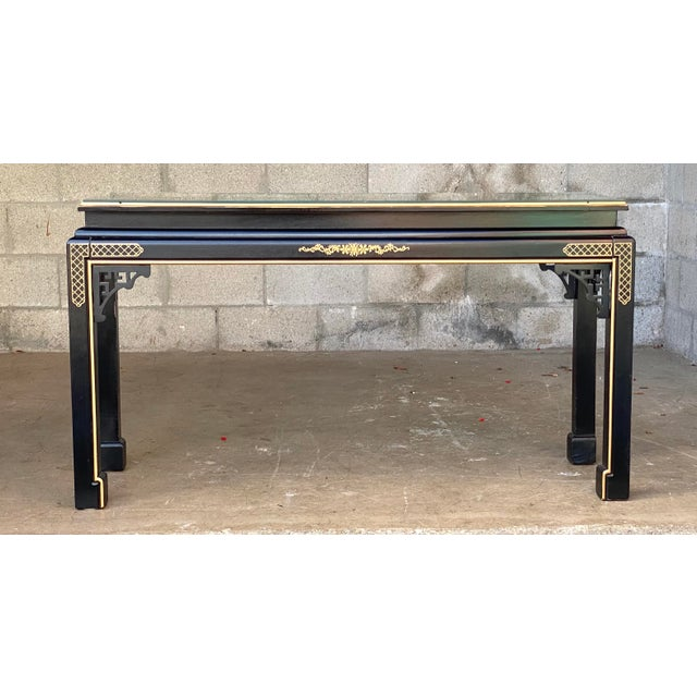 Paint Hollywood Regency Chinoiserie Fretwork Console Table For Sale - Image 7 of 10