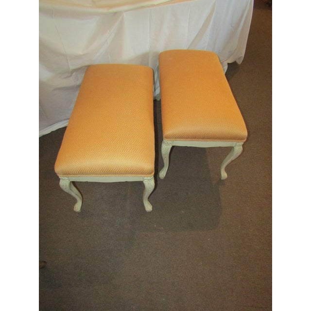 White Carved Wood Benches - A Pair - Image 5 of 6